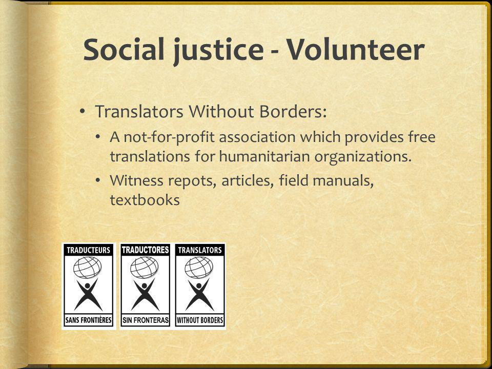 Social justice - Volunteer