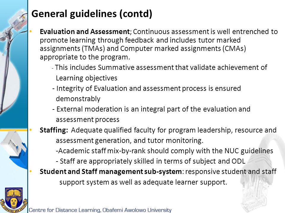 General guidelines (contd)