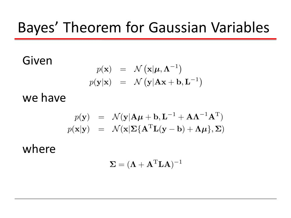 Bayes' Theorem for Gaussian Variables