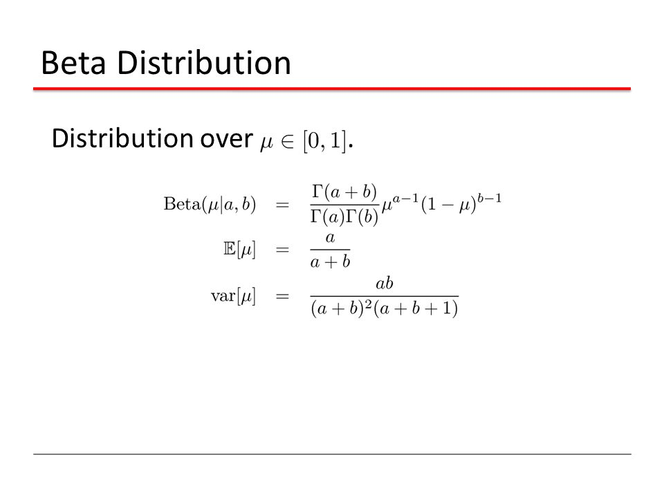 Beta Distribution Distribution over .