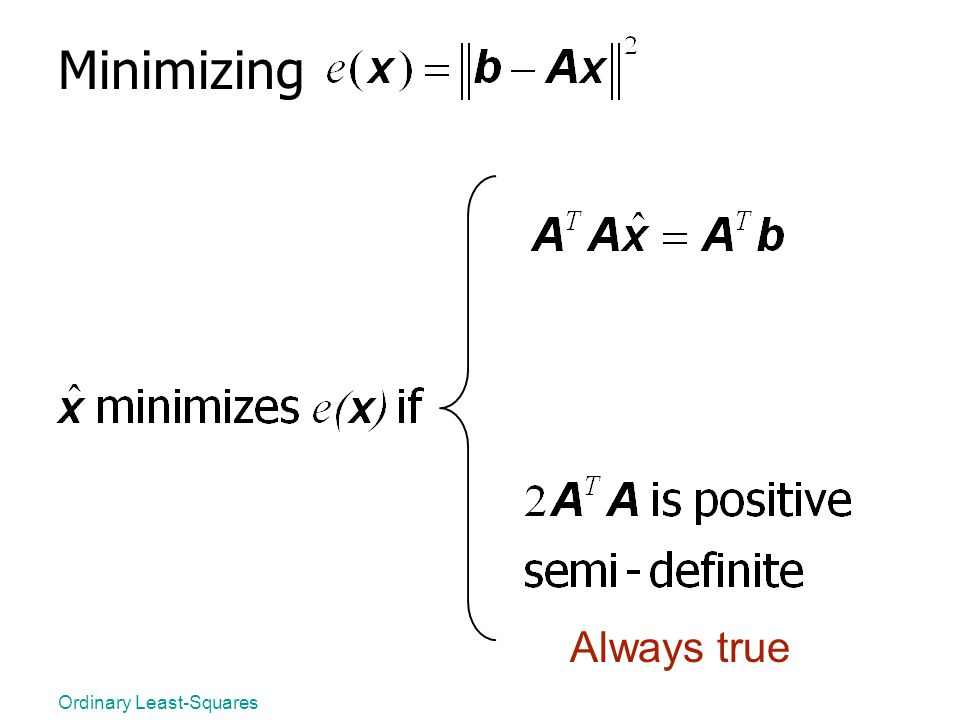 Minimizing Always true Ordinary Least-Squares
