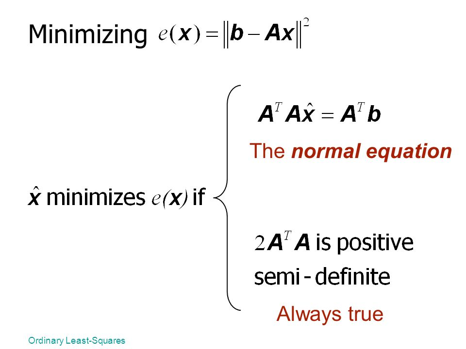Minimizing The normal equation Always true Ordinary Least-Squares