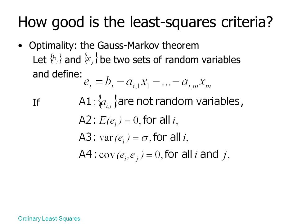 How good is the least-squares criteria