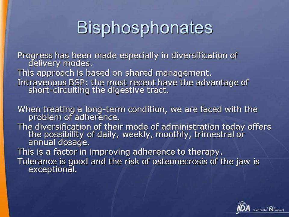 Bisphosphonates Progress has been made especially in diversification of delivery modes. This approach is based on shared management.