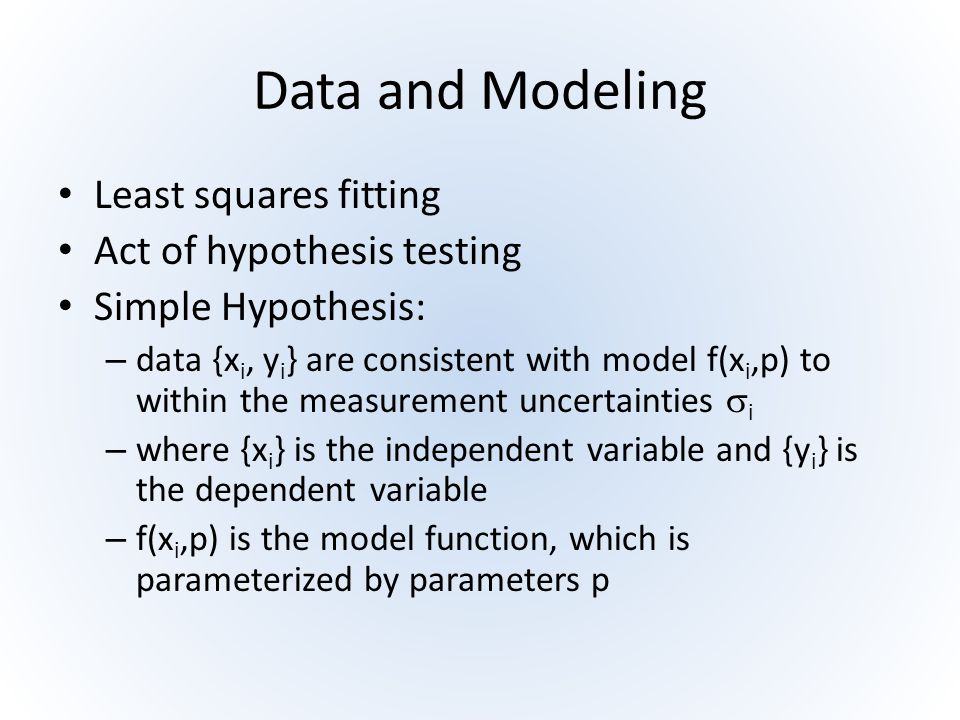 Data and Modeling Least squares fitting Act of hypothesis testing