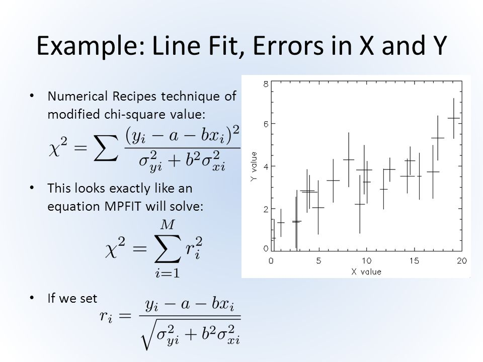 Example: Line Fit, Errors in X and Y