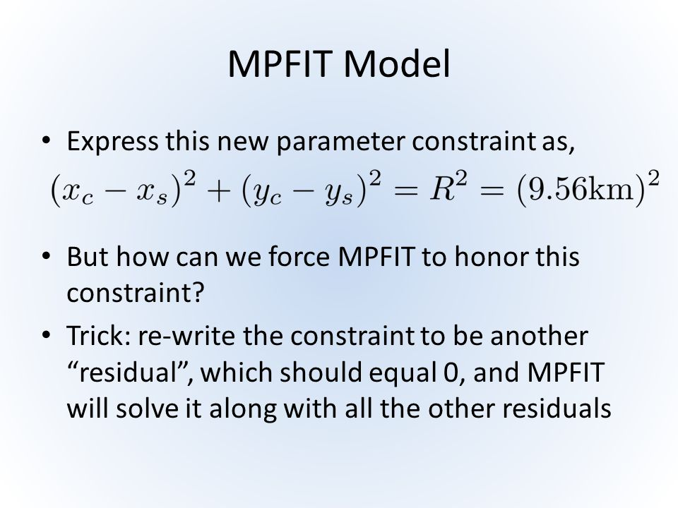 MPFIT Model Express this new parameter constraint as,