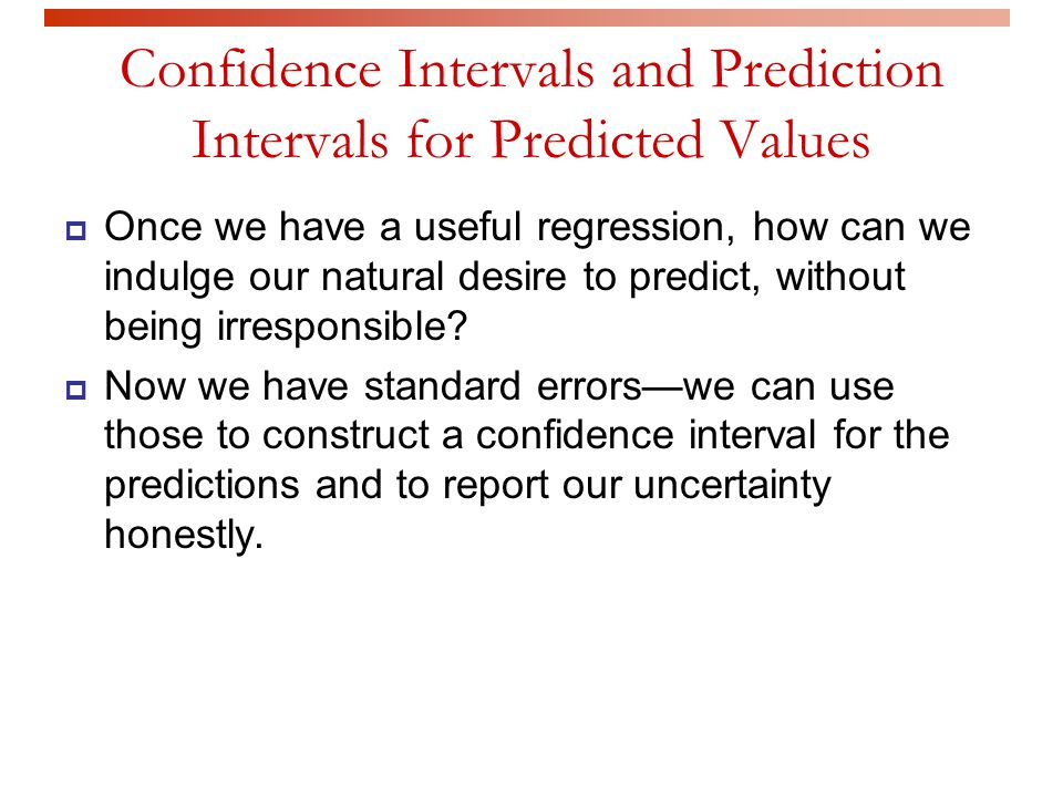 Confidence Intervals and Prediction Intervals for Predicted Values
