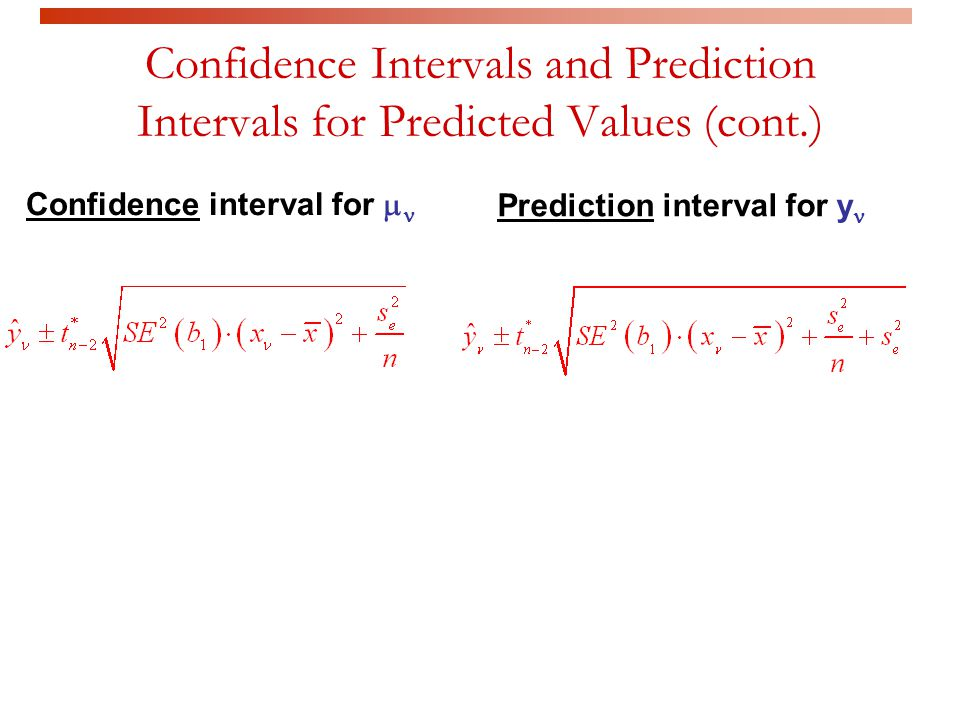 Confidence Intervals and Prediction Intervals for Predicted Values (cont.)