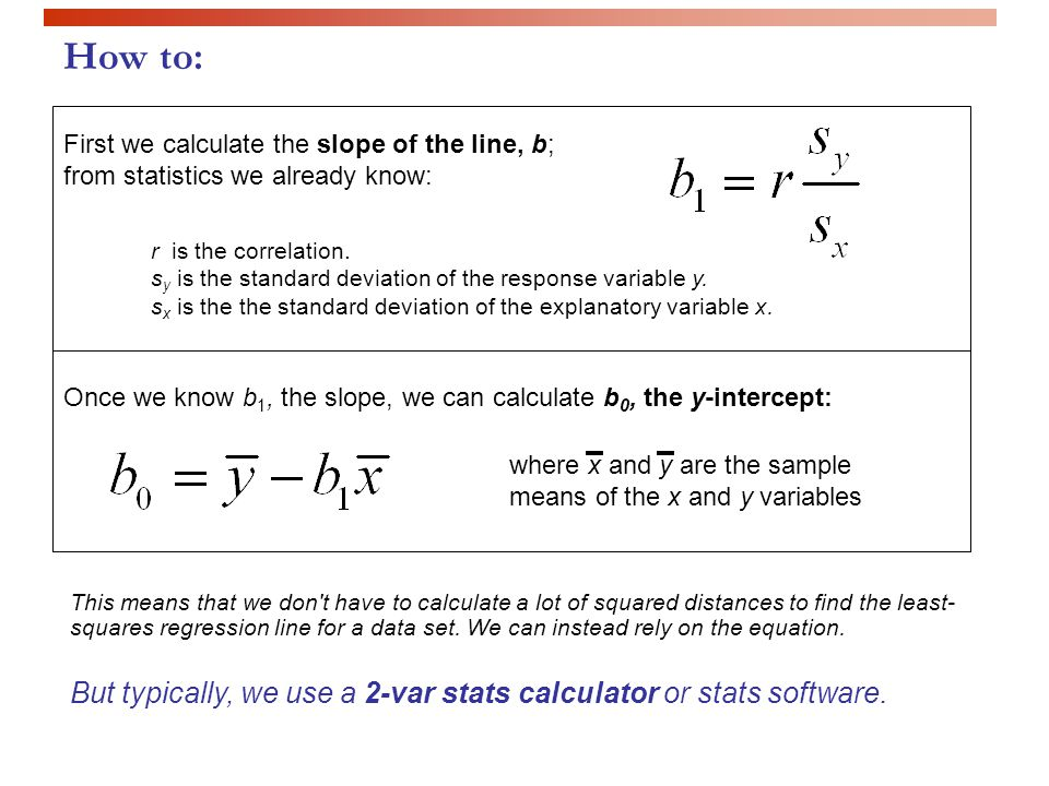 How to: First we calculate the slope of the line, b; from statistics we already know: r is the correlation.