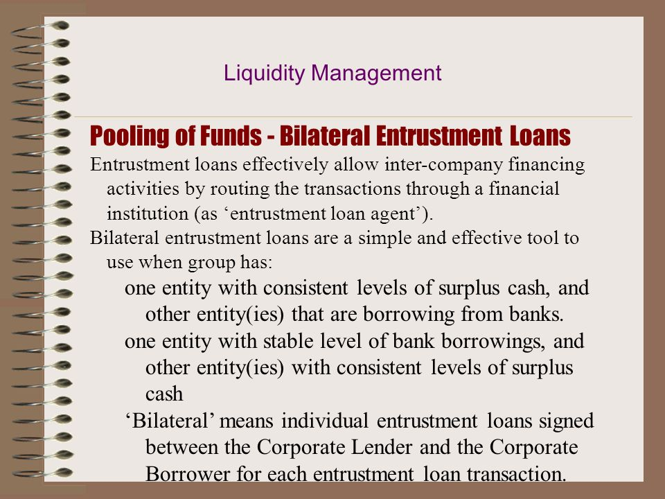 Pooling of Funds - Bilateral Entrustment Loans