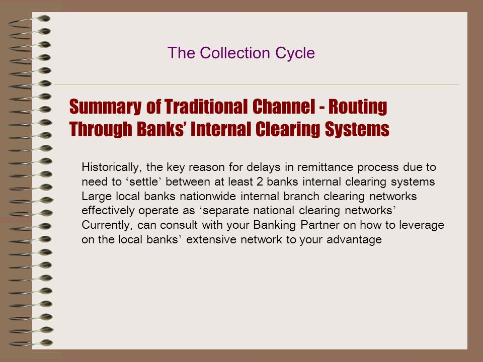The Collection Cycle Summary of Traditional Channel - Routing Through Banks' Internal Clearing Systems.
