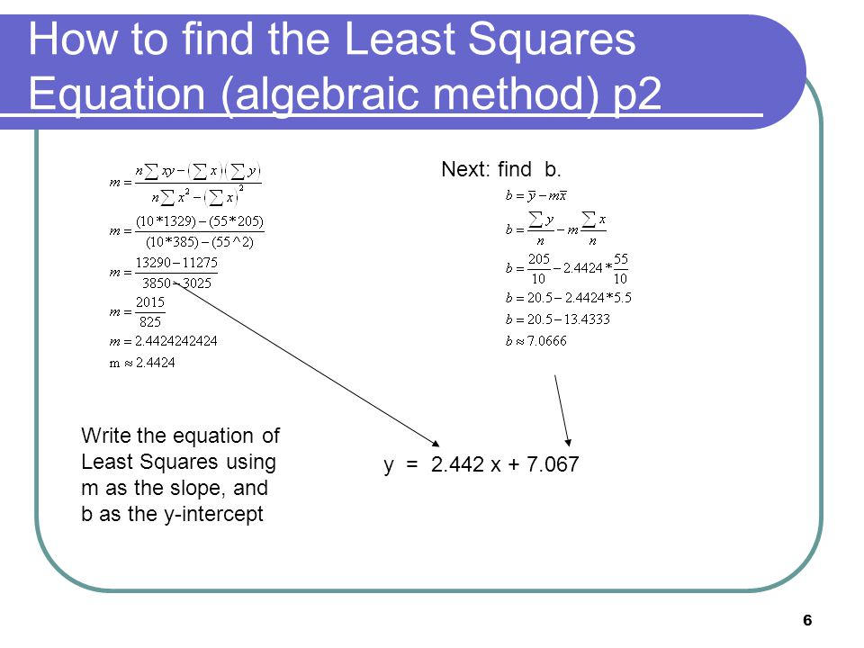 How to find the Least Squares Equation (algebraic method) p2