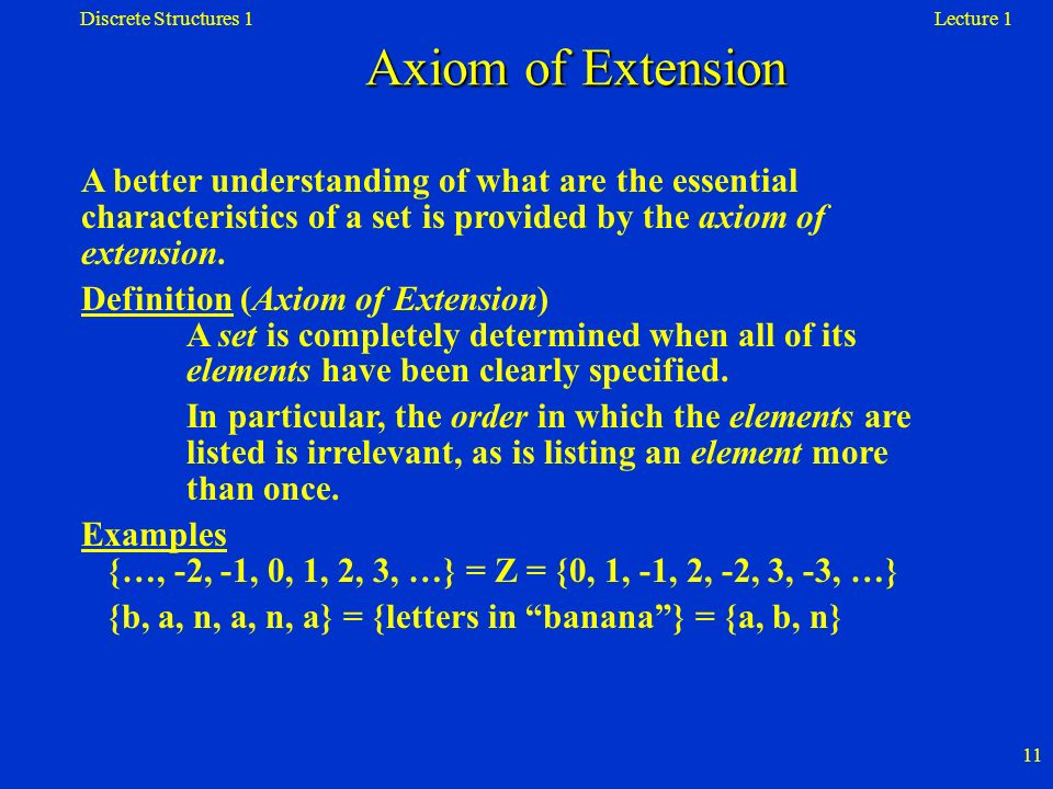 Discrete Structures 1 Axiom of Extension. Lecture 1.
