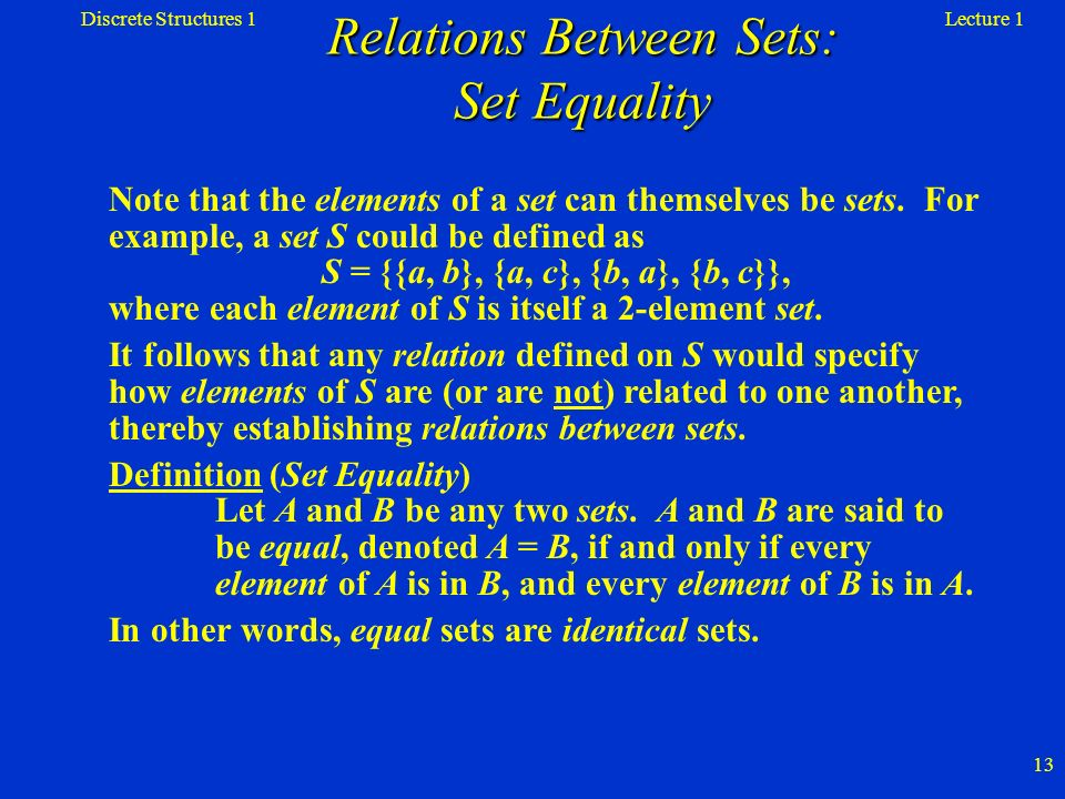 Relations Between Sets: Set Equality