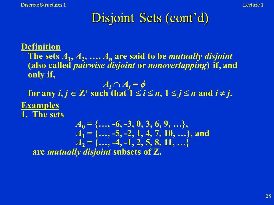 Disjoint Sets (cont'd)