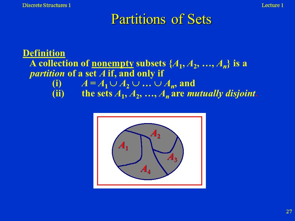 Discrete Structures 1 Partitions of Sets. Lecture 1.
