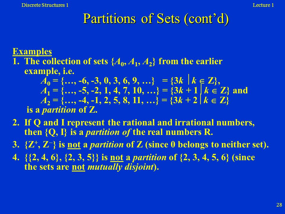 Partitions of Sets (cont'd)