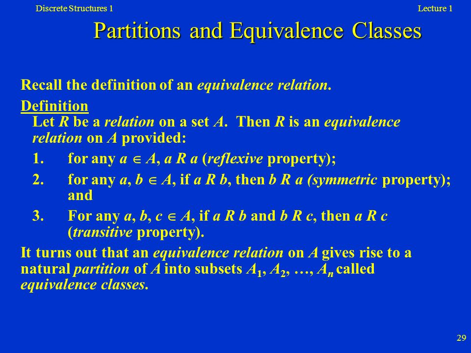 Partitions and Equivalence Classes