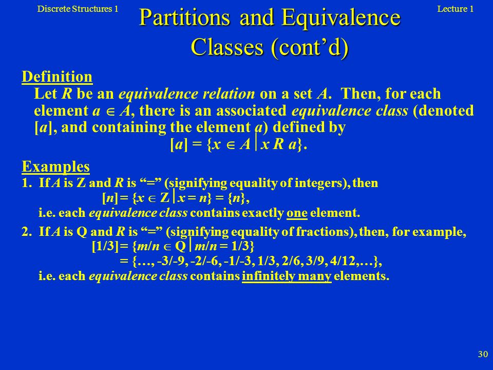 Partitions and Equivalence Classes (cont'd)