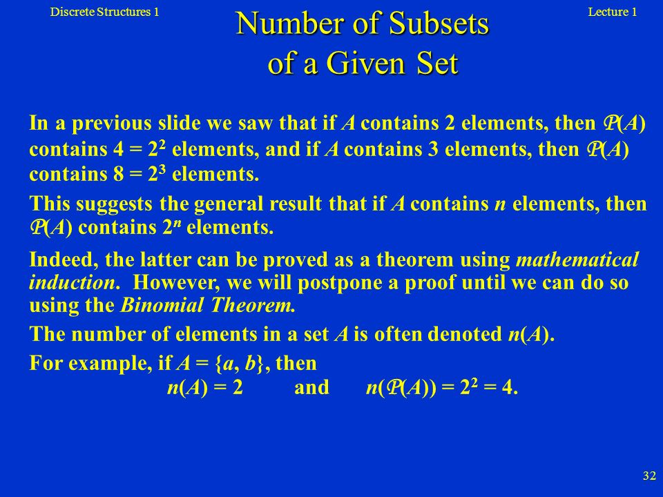 Number of Subsets of a Given Set