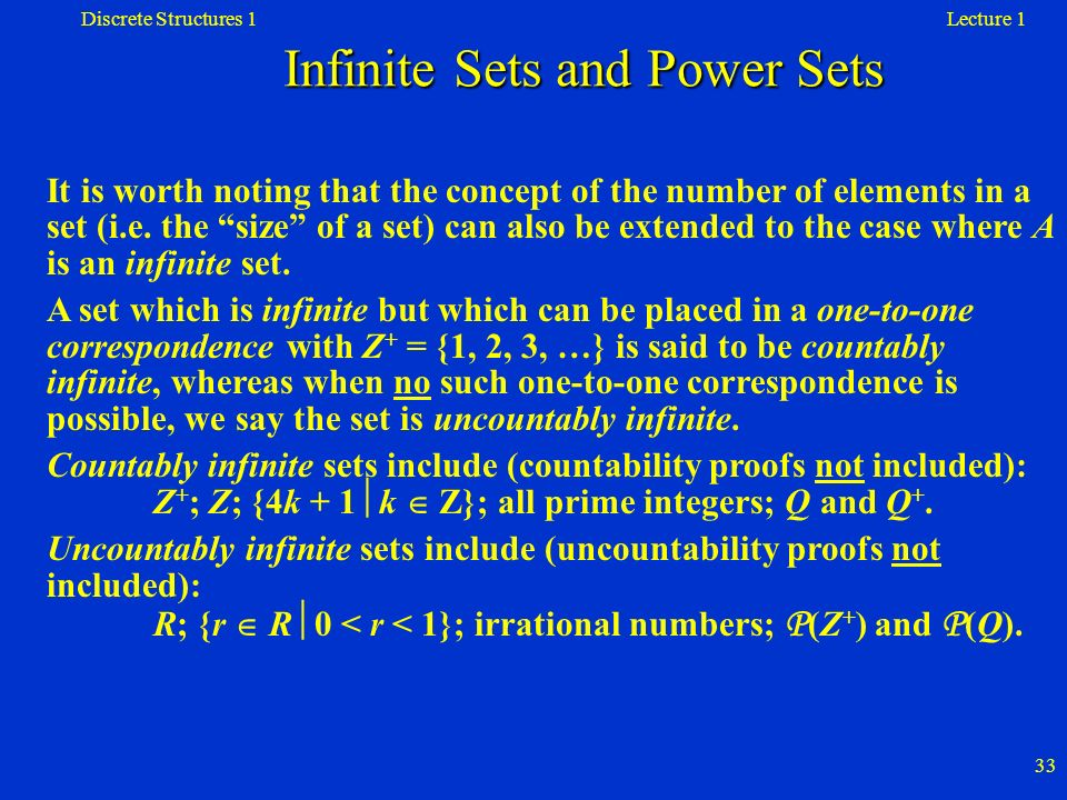 Infinite Sets and Power Sets