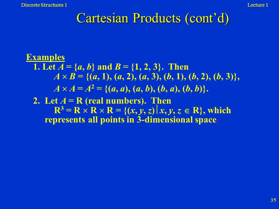 Cartesian Products (cont'd)