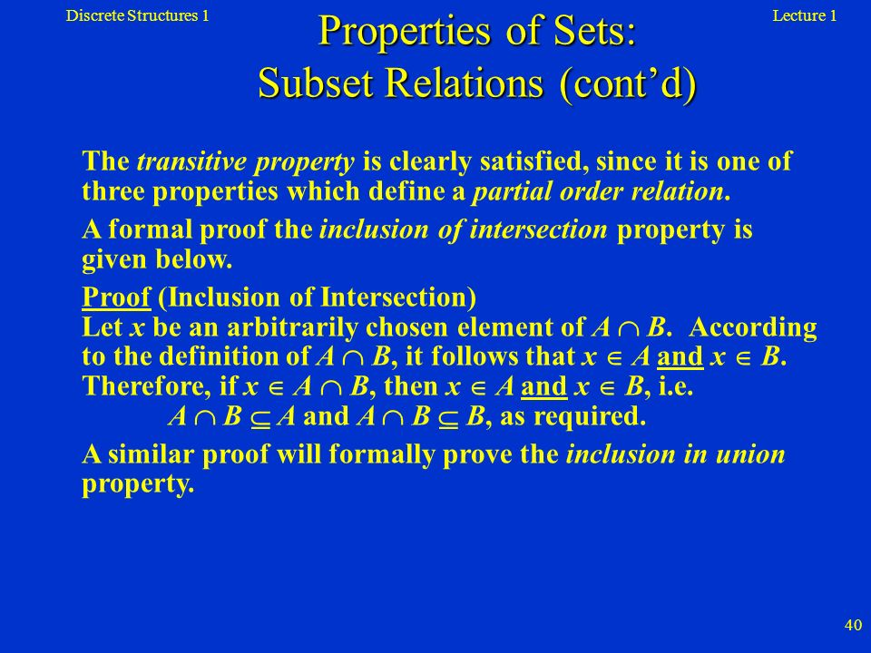 Properties of Sets: Subset Relations (cont'd)