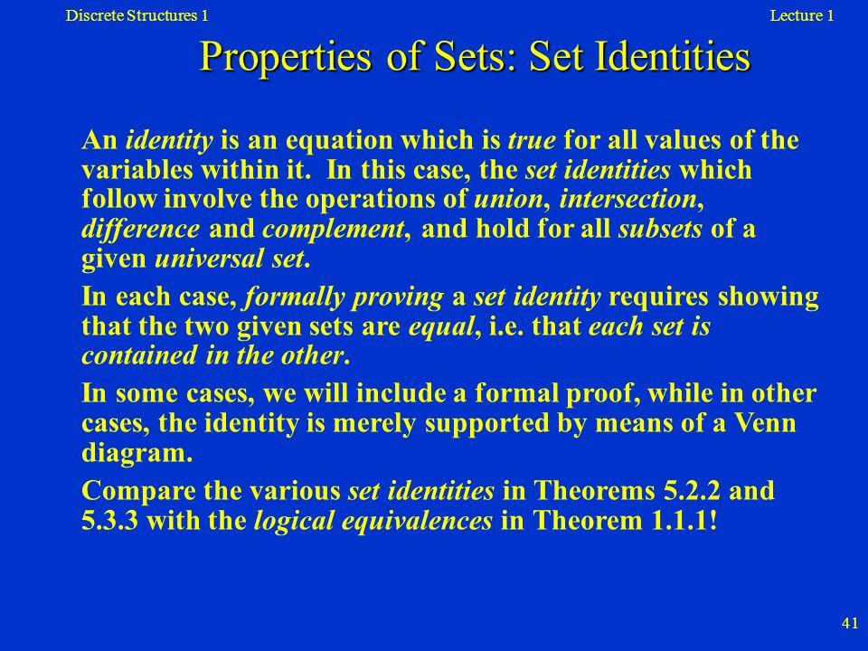 Properties of Sets: Set Identities