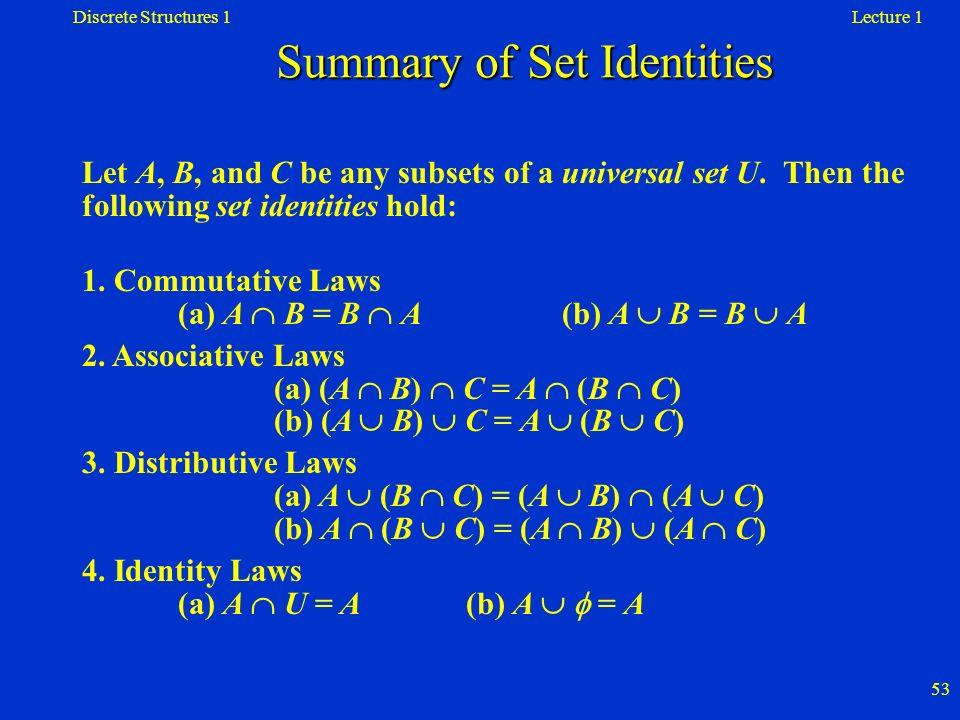Summary of Set Identities