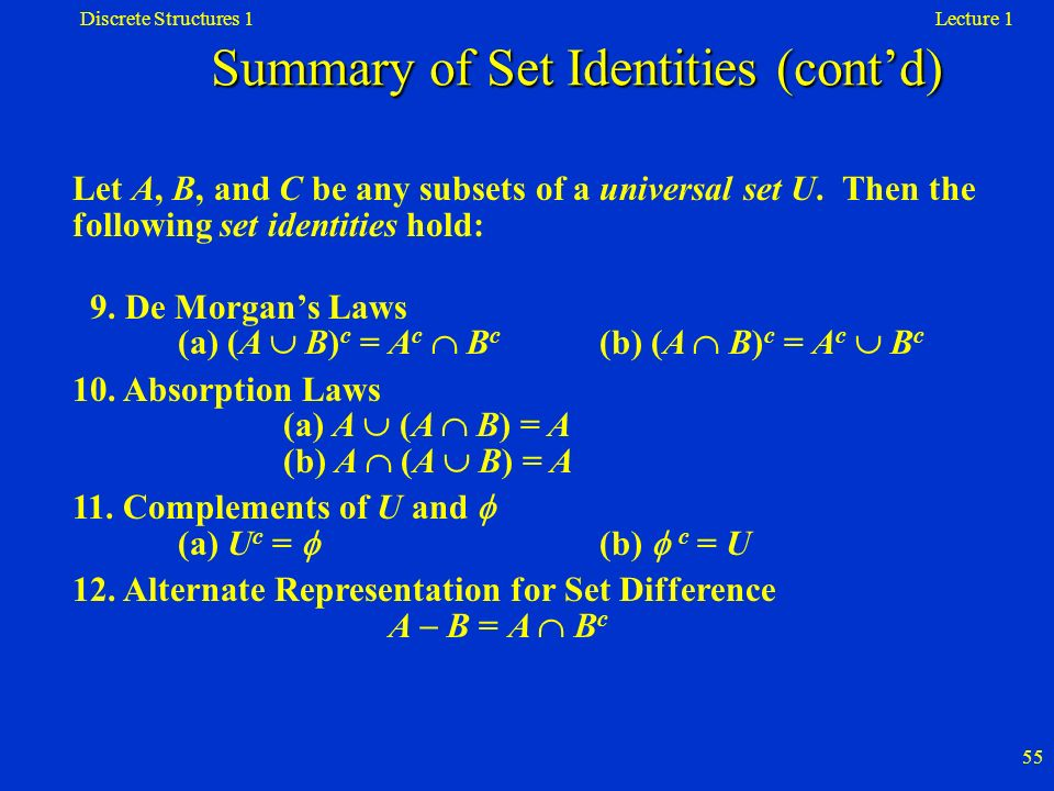 Summary of Set Identities (cont'd)