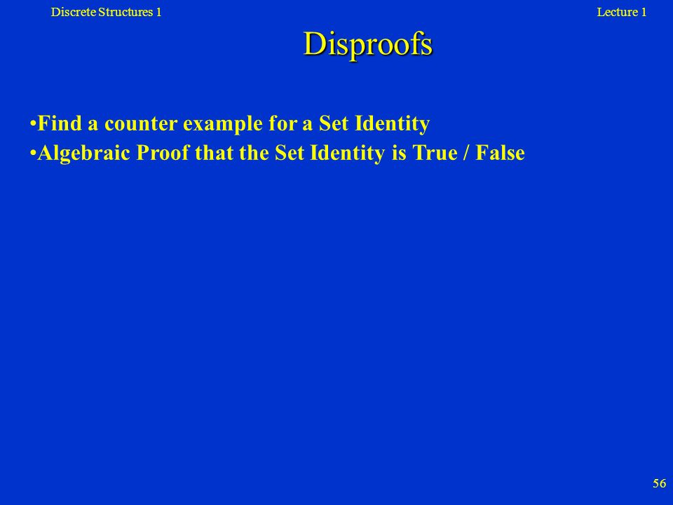 Disproofs Find a counter example for a Set Identity