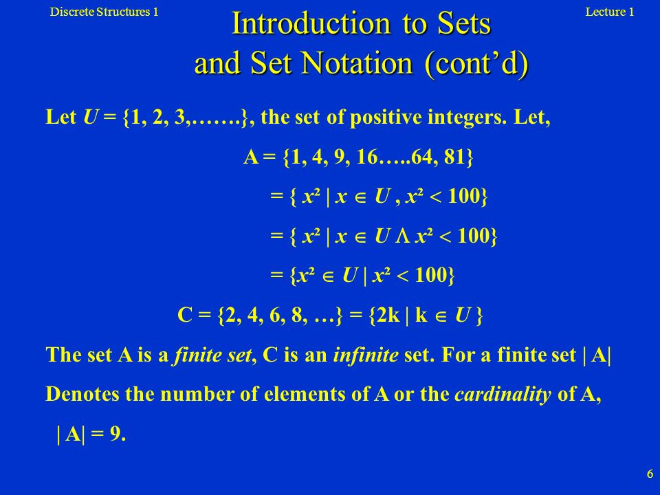 Introduction to Sets and Set Notation (cont'd)