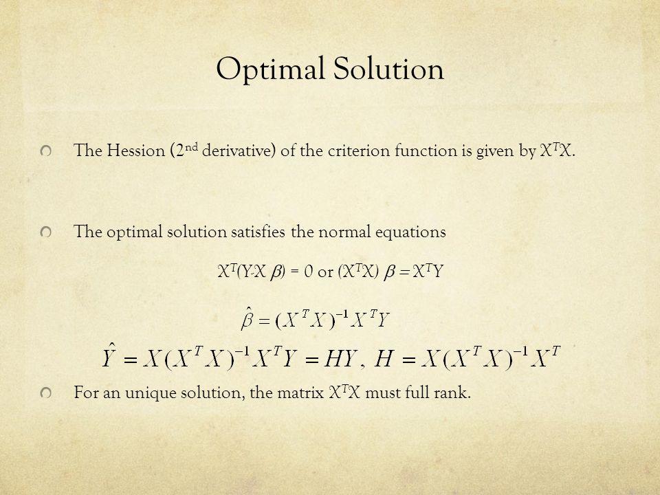 XT(Y-X b) = 0 or (XTX) b = XTY