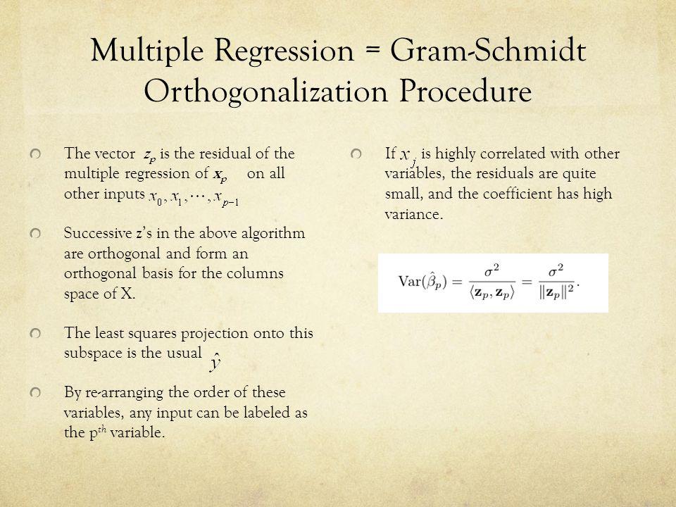 Multiple Regression = Gram-Schmidt Orthogonalization Procedure