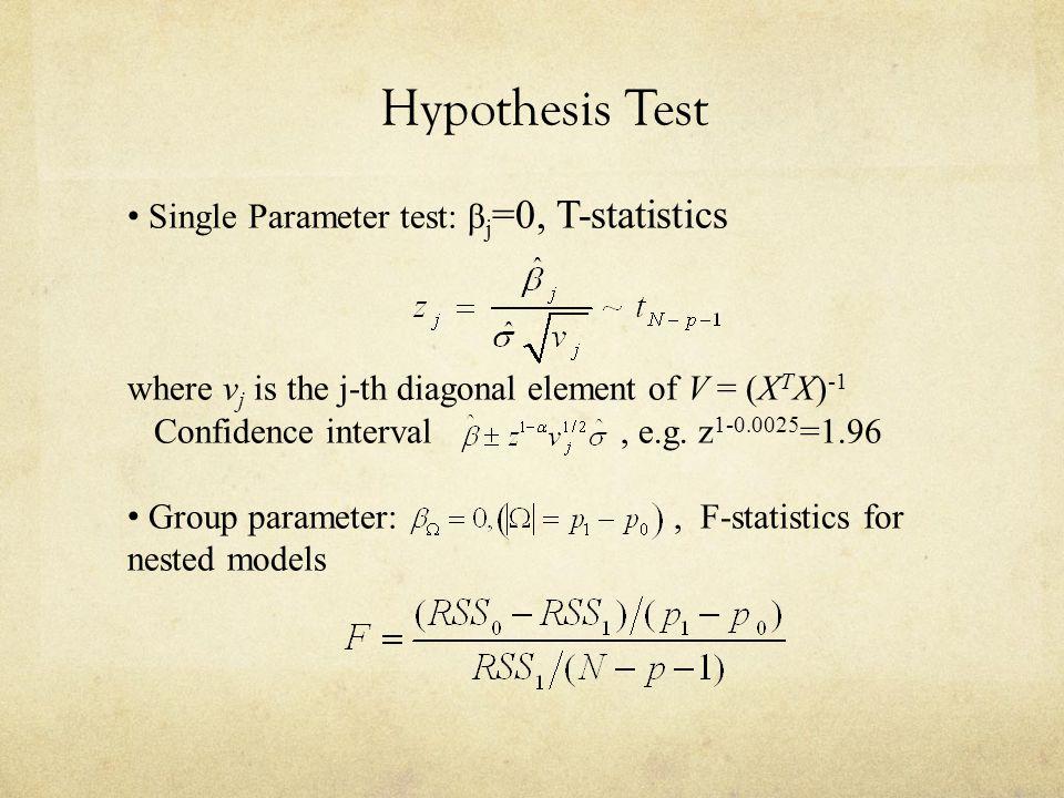 Hypothesis Test Single Parameter test: βj=0, T-statistics