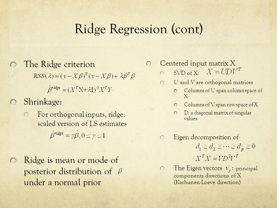 Ridge Regression (cont)