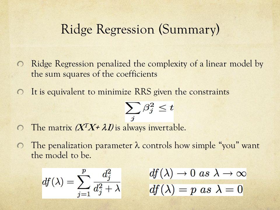 Ridge Regression (Summary)