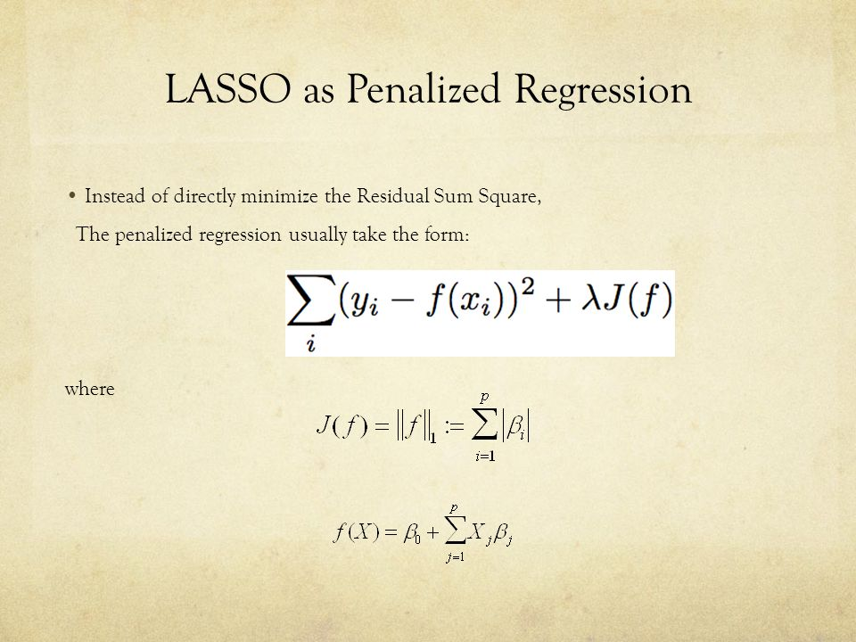 LASSO as Penalized Regression