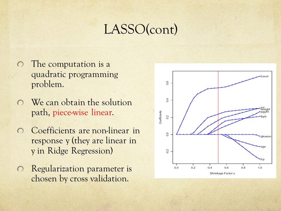 LASSO(cont) The computation is a quadratic programming problem.