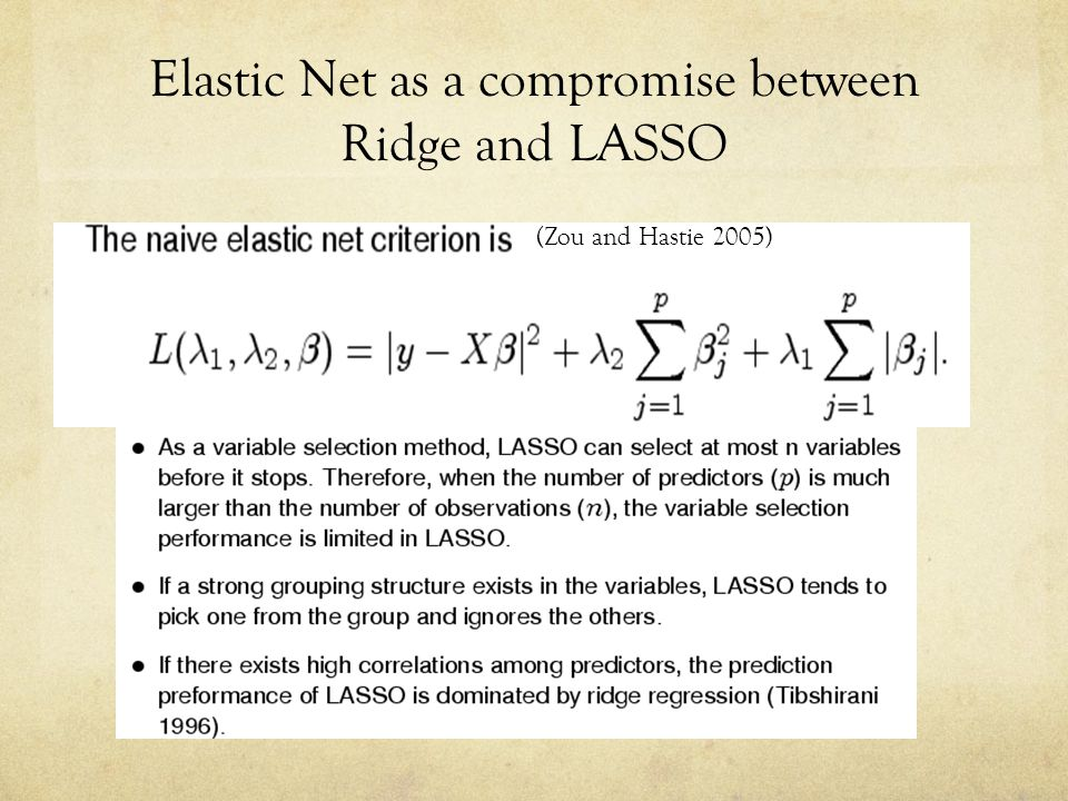 Elastic Net as a compromise between Ridge and LASSO