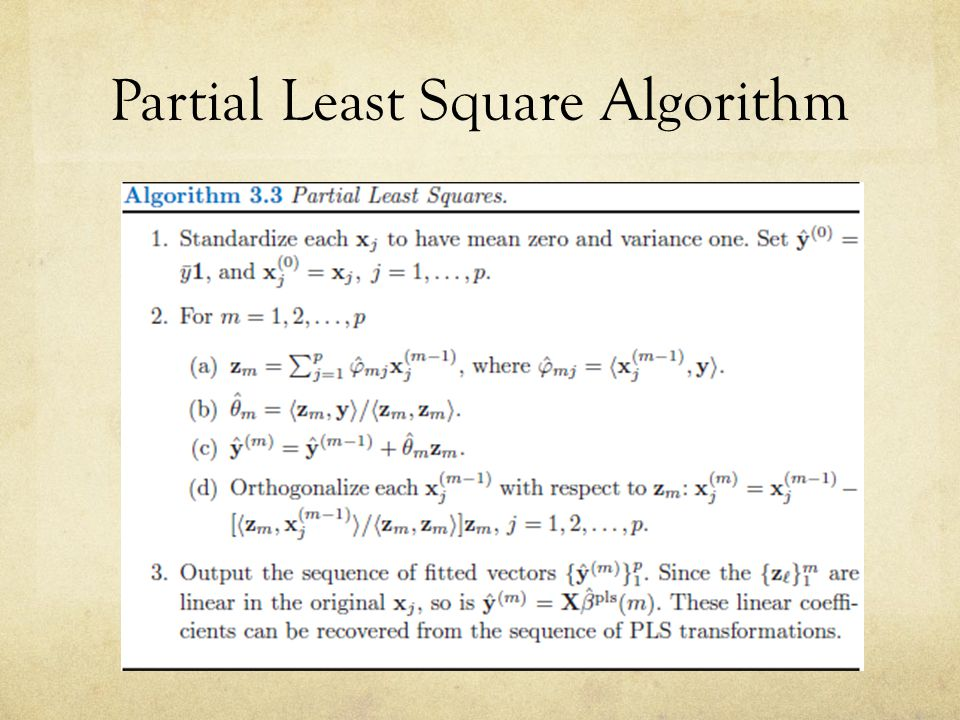 Partial Least Square Algorithm