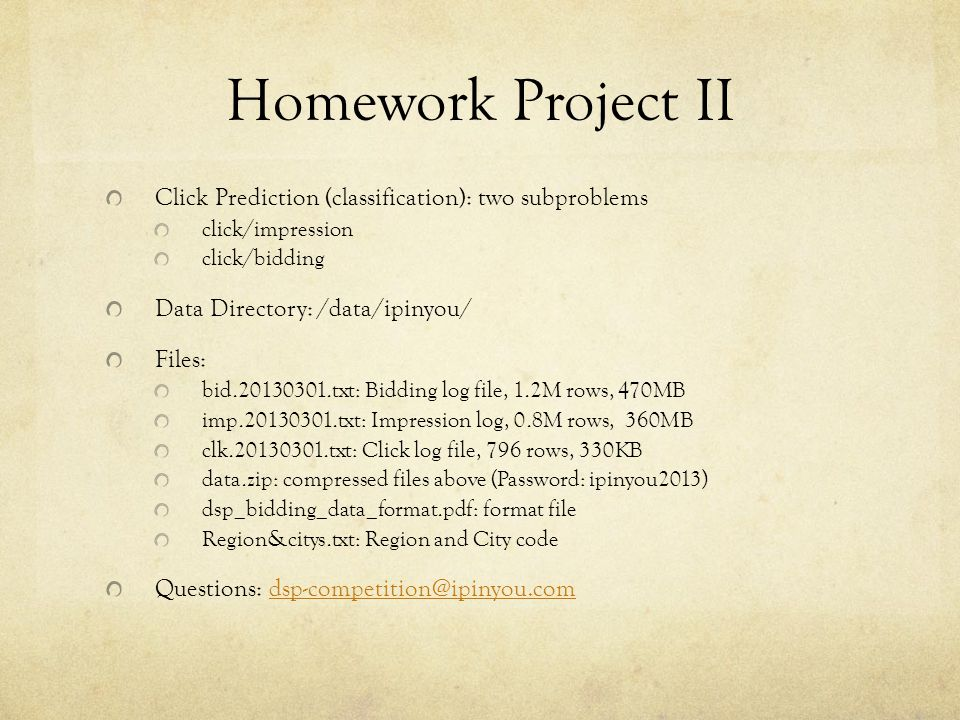 Homework Project II Click Prediction (classification): two subproblems