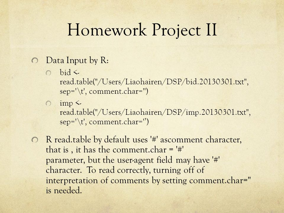 Homework Project II Data Input by R: