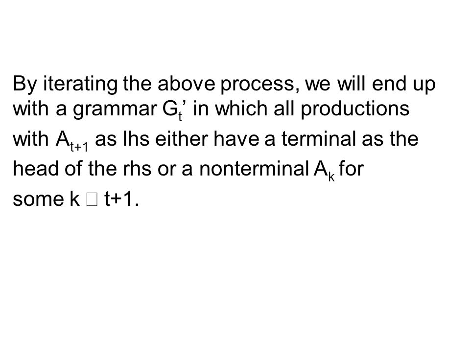 By iterating the above process, we will end up with a grammar Gt' in which all productions
