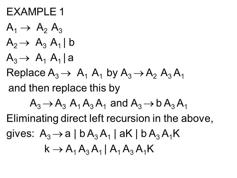 EXAMPLE 1 A1 ® A2 A3. A2 ® A3 A1 | b. A3 ® A1 A1 | a. Replace A3 ® A1 A1 by A3 ® A2 A3 A1.