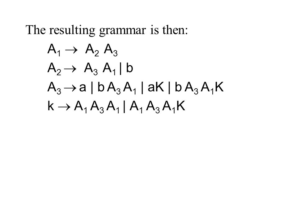 The resulting grammar is then: