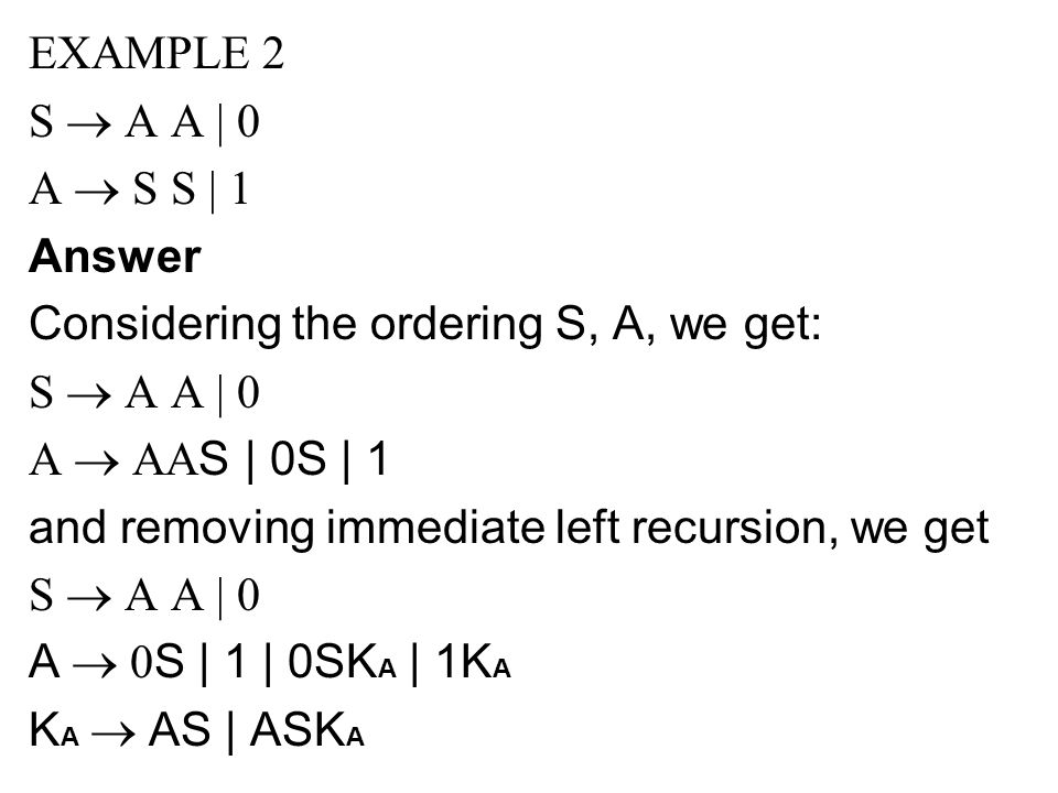 EXAMPLE 2 S ® A A | 0. A ® S S | 1. Answer. Considering the ordering S, A, we get: A ® AAS | 0S | 1.