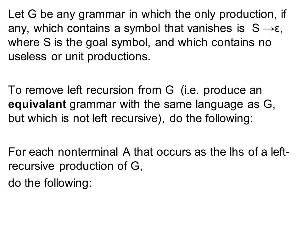Let G be any grammar in which the only production, if any, which contains a symbol that vanishes is S →ε, where S is the goal symbol, and which contains no useless or unit productions.