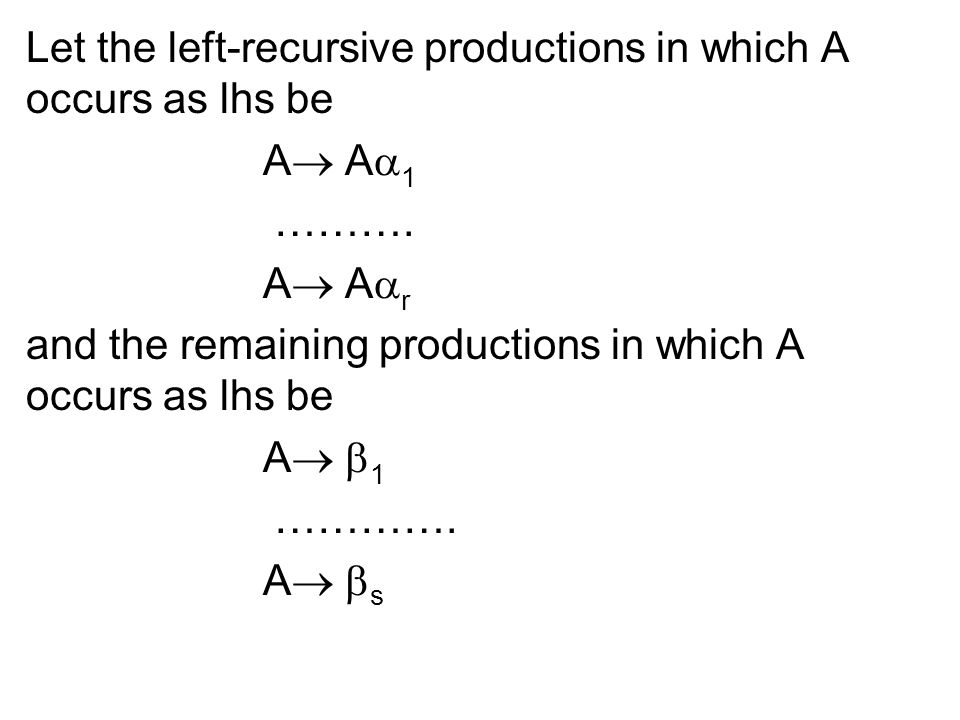 Let the left-recursive productions in which A occurs as lhs be